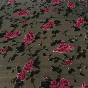 ETHOS Silk/Rayon/Velvet Shawl, Green/Rose Floral